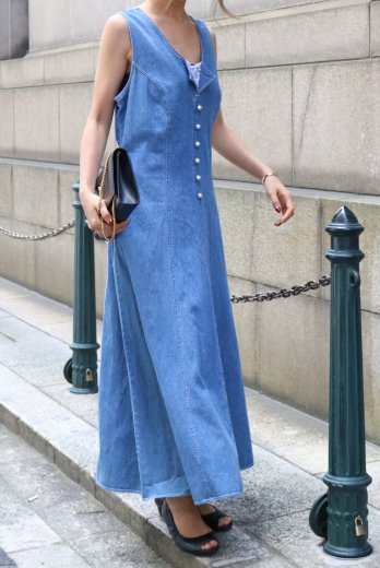 【vintage】 front pearl button design sleeveless long denim dress