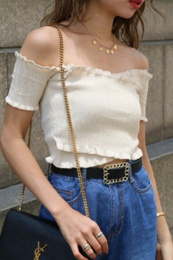 off shoulder knit tops / ivory