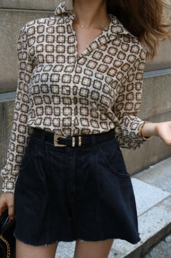【vintage】geomentry pattern blouse / brown/beige