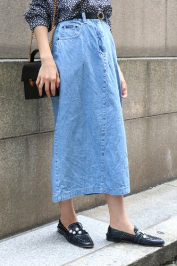 【vintage】back slit pencil denim skirt