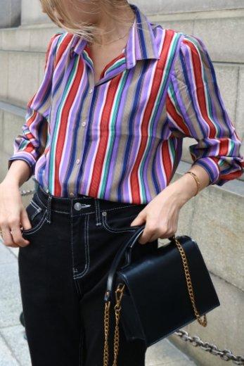 【vintage】multi color stripe pattern blouse