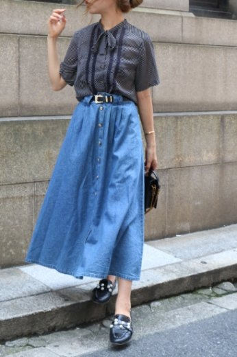 【vintage】marble button waist gather denim long skirt