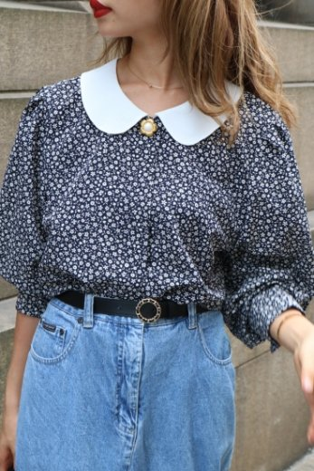 【vintage】round collar fly front button flower pattern blouse / navy