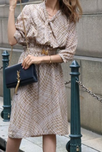 【vintage】front ribbon tie flare dress (belt set) / beige