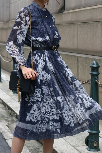 【vintage】stand collar see-through sleeve flower pattern pleats dress / navy