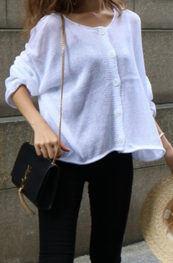 3way summer knit tops / white