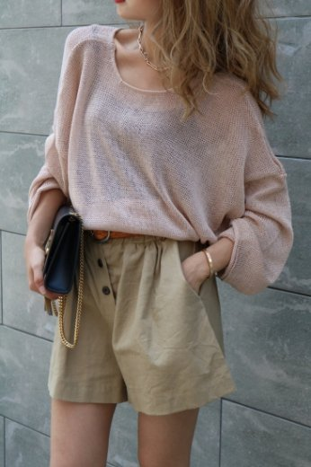 3way summer knit tops / brown