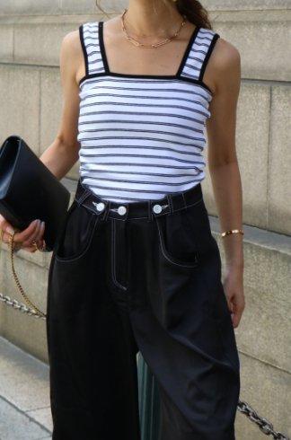 bicolor stripe bustier tops / white×black
