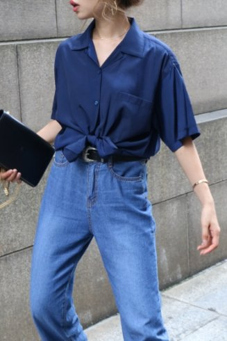 open collar satin blouse / navy