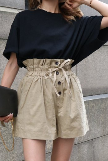 high waist cotton short pants / beige