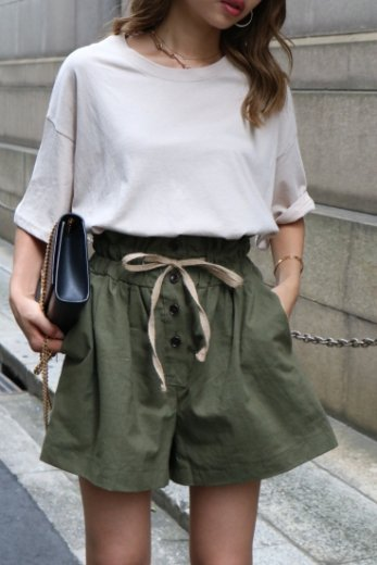 high waist cotton short pants / khaki