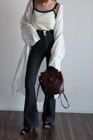 2way front button cotton gown (belt ribbon set) / ivory
