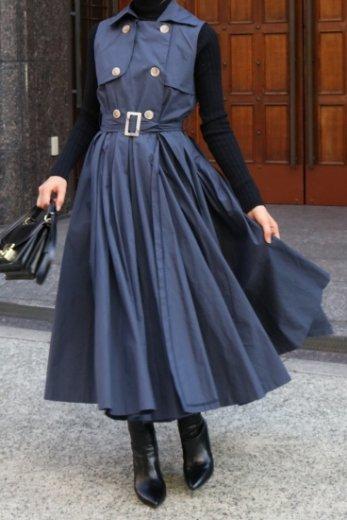 <img class='new_mark_img1' src='https://img.shop-pro.jp/img/new/icons14.gif' style='border:none;display:inline;margin:0px;padding:0px;width:auto;' />napoleon collar sleeveless wrap flare dress (belt set) / navy