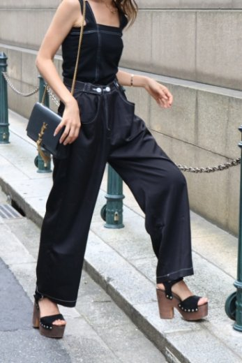 waist adjustable satin wide pants / black