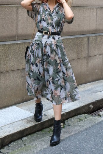 【vintage】french sleeve flower pattern wrap design flare dress