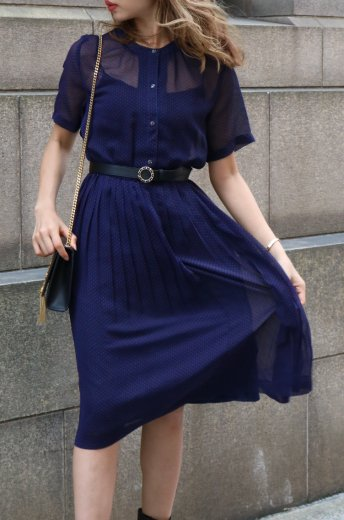 【vintage】round neck dot pattern see-through pleats dress /navy