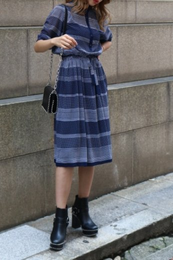【vintage】stand collar dot & stripe pattern flare dress (belt ribbon set) / navy