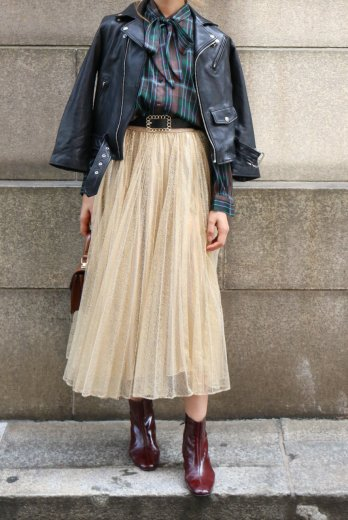 glitter volume tulle skirt / gold