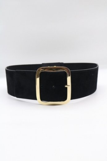 square gold buckle nubuck gather belt / black