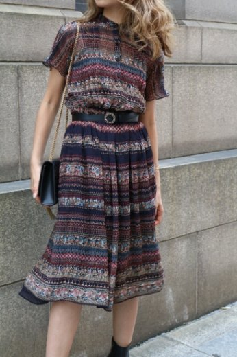 【vintage】stand collar ethnic pattern flare dress