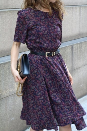 【vintage】round neck paisley pattern flare dress