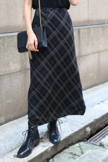 【vintage】gold thread edge design flare skirt / black
