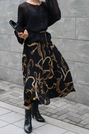 【vintage】waist gather scarf motif pattern stretch flare skirt / black