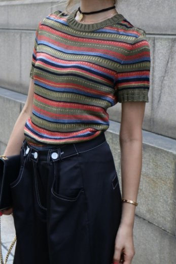 【vintage】Yves Saint Laurent / round neck multi color stripe pattern summer knit tops