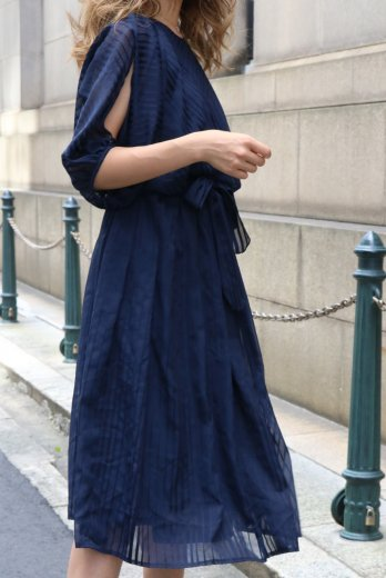 【vintage】arm slit see-through flare dress / navy