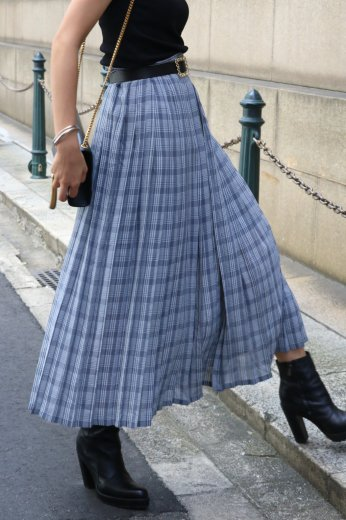 【vintage】check pattern long pleats skirt / gray