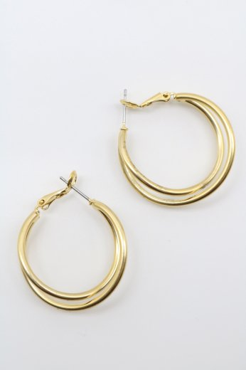 crossing gold rings pierced earrings