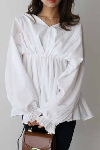 waist gather cotton tunic blouse / white