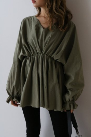 waist gather cotton tunic blouse / khaki
