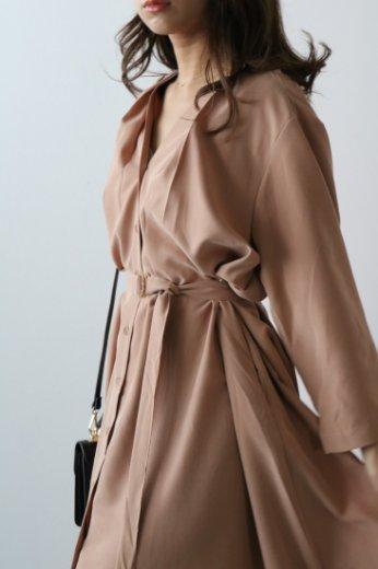 front & back tuck design long dress (belt ribbon set) / orange beige