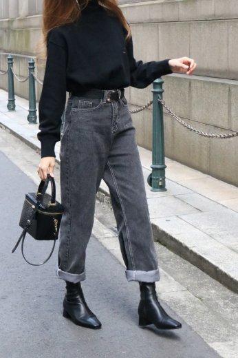 washed black straight denim pants