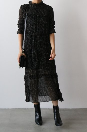 stand frill collar dot pattern tiered flare long dress / black