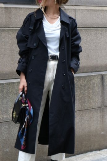 【PRE ORDER〜9/9(月)23:59まで】napoleon collar double button long trench coat (belt set) / black