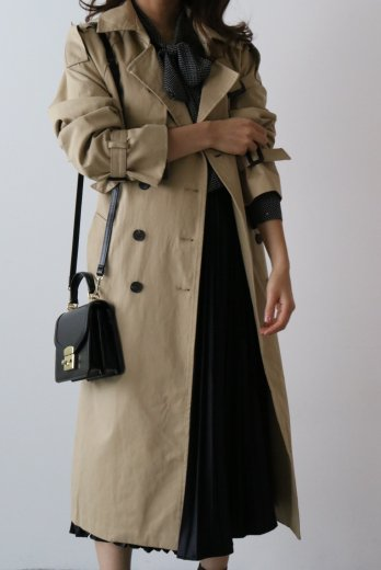 【PRE ORDER〜9/9(月)23:59まで】napoleon collar double button long trench coat (belt set) / beige