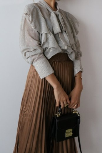 front ribbon dot pattern frill see-through blouse / beige