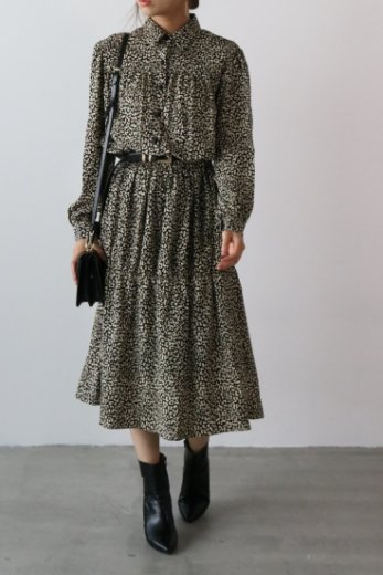 leopard pattern long flare dress / ivory