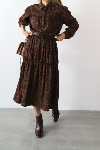 leopard pattern long flare dress / brown
