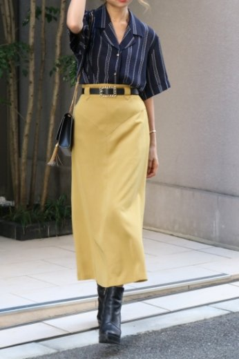 【vintage】yoke design long flare skirt / mustard