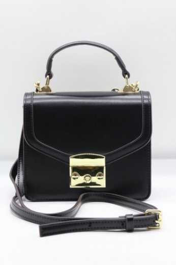 2way shoulder real leather bag / black