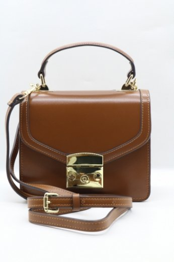 2way shoulder real leather bag / brown