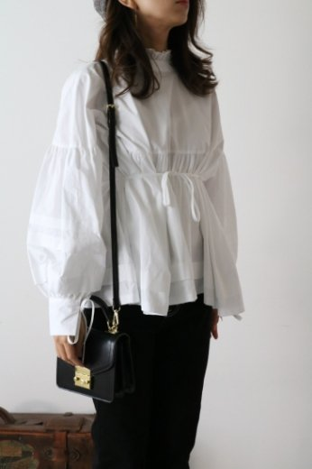 2way stand frill collar balloon sleeves cotton tunic blouse / white