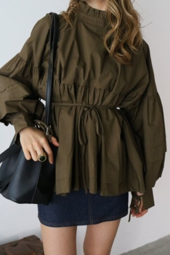 2way stand frill collar balloon sleeves cotton tunic blouse / khaki
