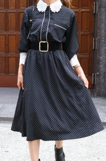 lace collar dot patterned all over long dress / black