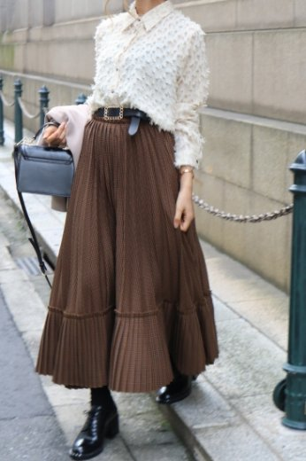 <img class='new_mark_img1' src='https://img.shop-pro.jp/img/new/icons14.gif' style='border:none;display:inline;margin:0px;padding:0px;width:auto;' />check pattern tiered volume pleats skirt