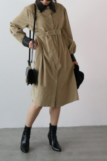fake leather collar corduroy long dress / beige
