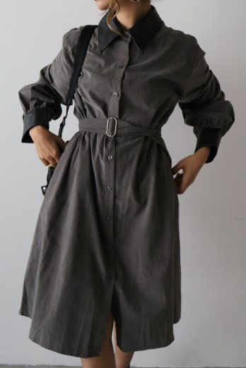 fake leather collar corduroy long dress / gray